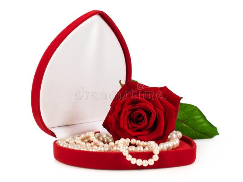Satängfall med en pärlemorfärg halsband och en röd ros royaltyfria foton