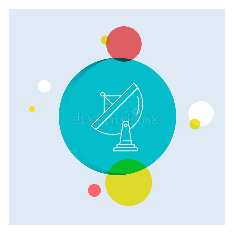 satélite, antena, radar, espacio, línea blanca fondo colorido del plato del círculo del icono stock de ilustración