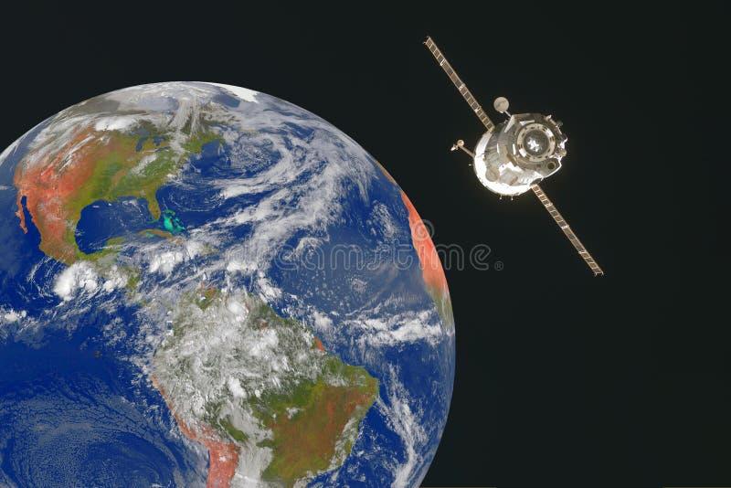 Satélite artificial no espaço acima da terra imagens de stock royalty free