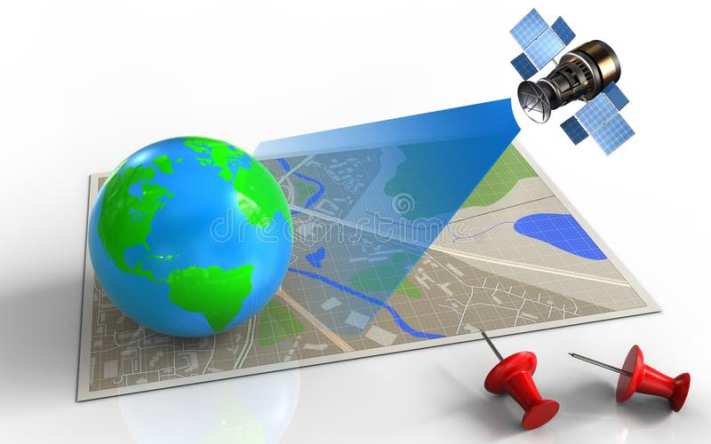 satélite 3d ilustração stock