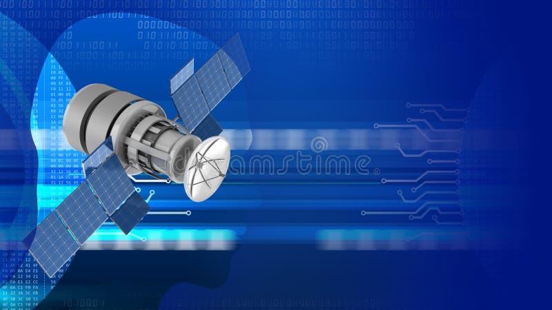 satélite 3d ilustração do vetor