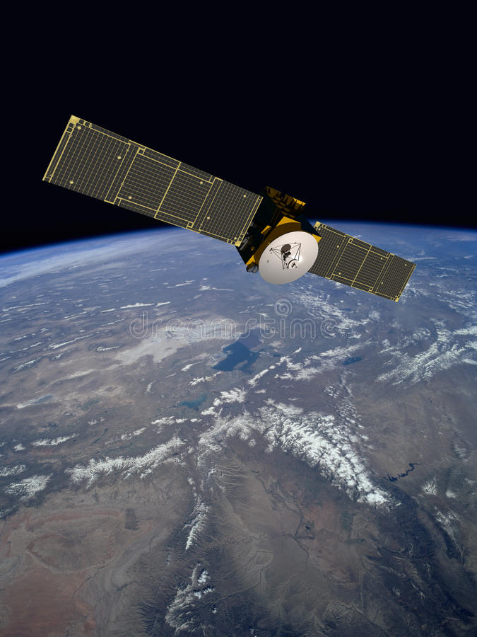 Satélite de comunicação de órbita fotos de stock