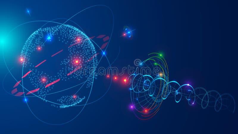 Satélite de comunicaciones en tierra de la órbita del espacio Antena de satélite que difunde la señal digital de la TV vía satéli libre illustration