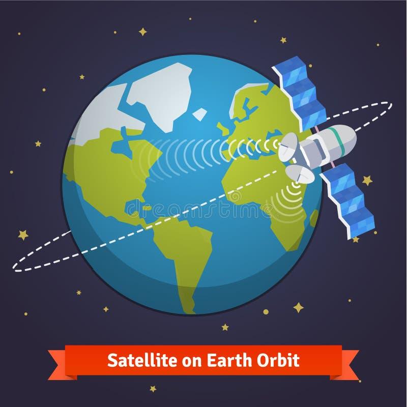 Satélite de telecomunicación en la tierra stock de ilustración