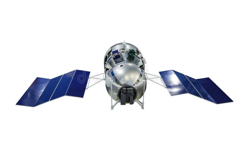 Satélite de tierra artificial orbital con los paneles solares azules en sondar de la superficie de los lados aislados en el fondo imagen de archivo libre de regalías