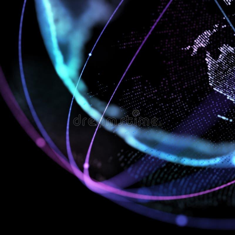 Satélite del mapa del mundo, representando la conexión de red global, global, significado internacional ilustración 3D imagen de archivo