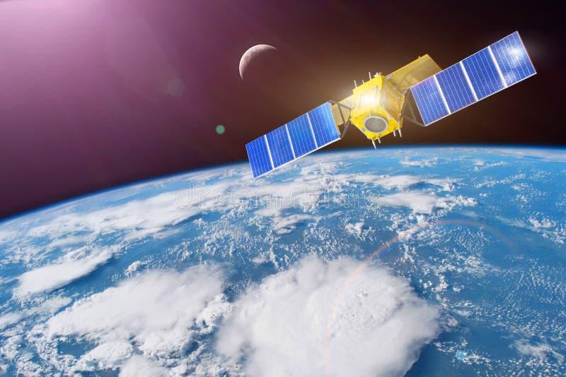 Satélite do espaço na órbita em torno da terra Elementos desta imagem fornecidos pela NASA ilustração do vetor