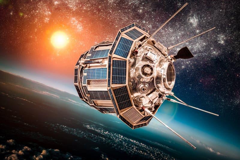 Satélite do espaço sobre a terra do planeta foto de stock