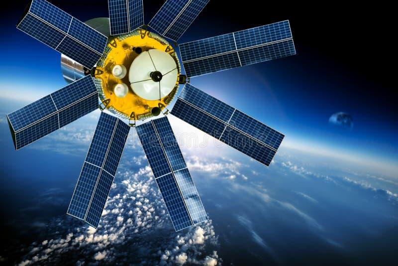 Satélite do espaço sobre a terra do planeta ilustração stock