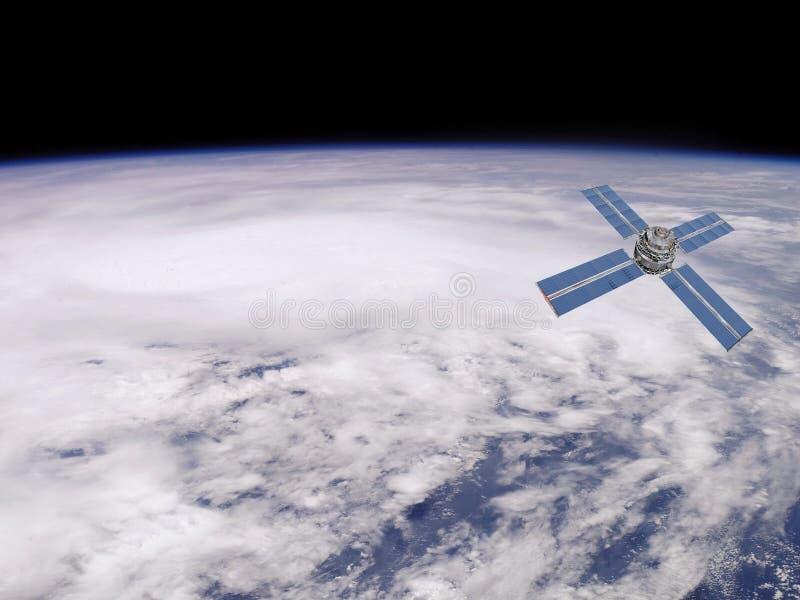 Satélite en órbita ilustración del vector