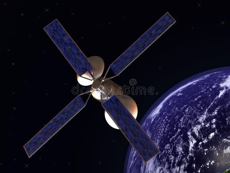 Satélite en órbita de tierra ilustración del vector