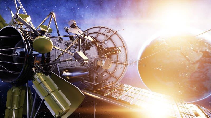 Satélite en espacio vista de la tierra Salida del sol representación 3d ilustración del vector
