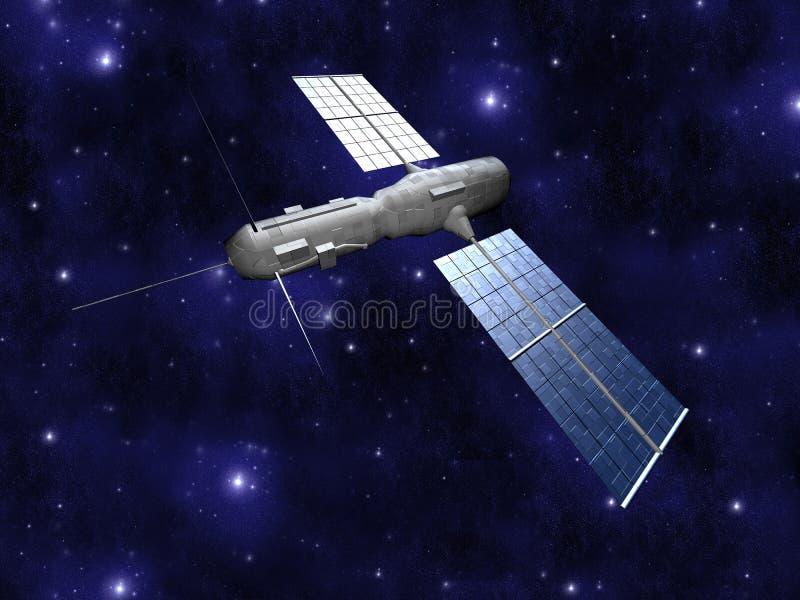 Satélite - fondo de Starfield ilustración del vector