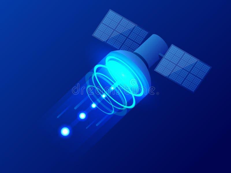 Satélite isométrico de GPS Tecnologia satélite sem fio Rede global do mundo Equipamento para a televisão satélite e o rádio ilustração royalty free