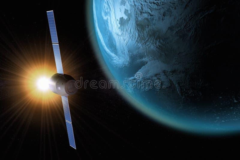 Satélite que orbita a terra ilustração royalty free