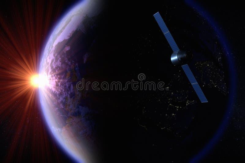 Satélite que orbita a terra ilustração stock