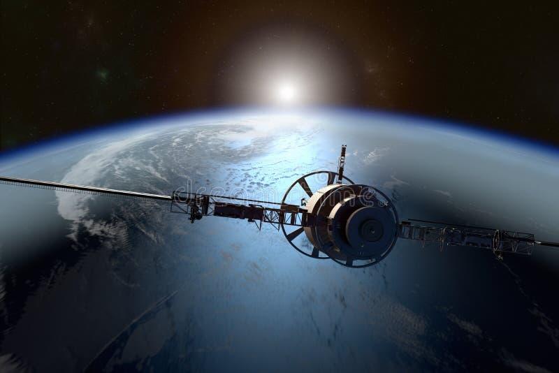 Satélite que orbita a terra ilustração do vetor