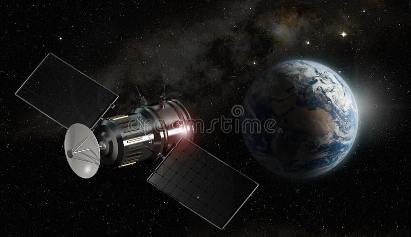 Satélite que orbita a terra do planeta ilustração stock