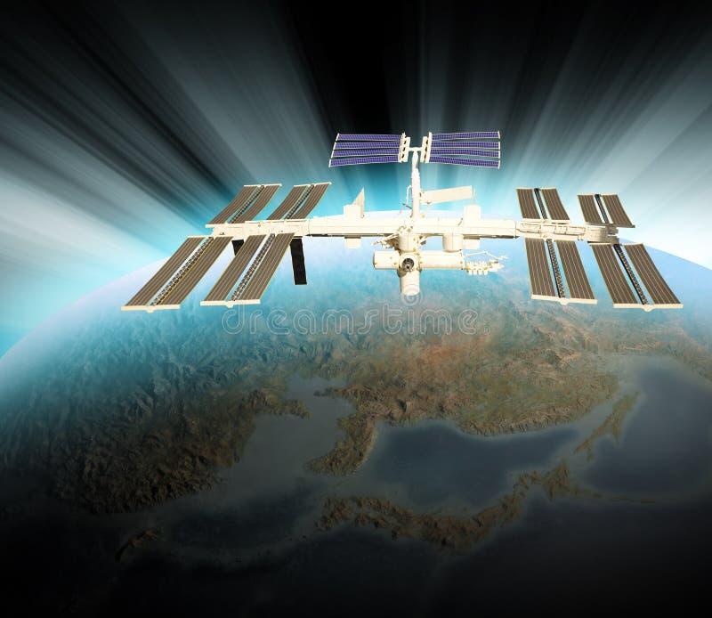 Satélite que se mueve en órbita alrededor en espacio sobre la tierra libre illustration