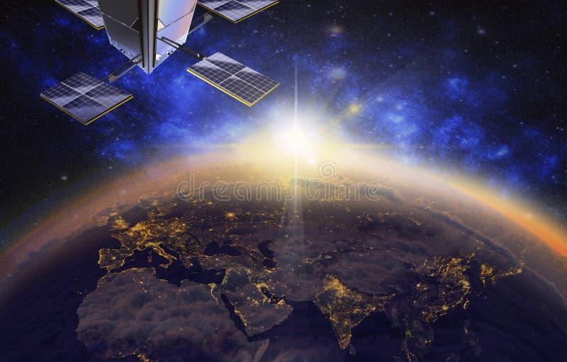 satélite sobre Europa e Ásia, 3d visualização, nascer do sol ilustração stock