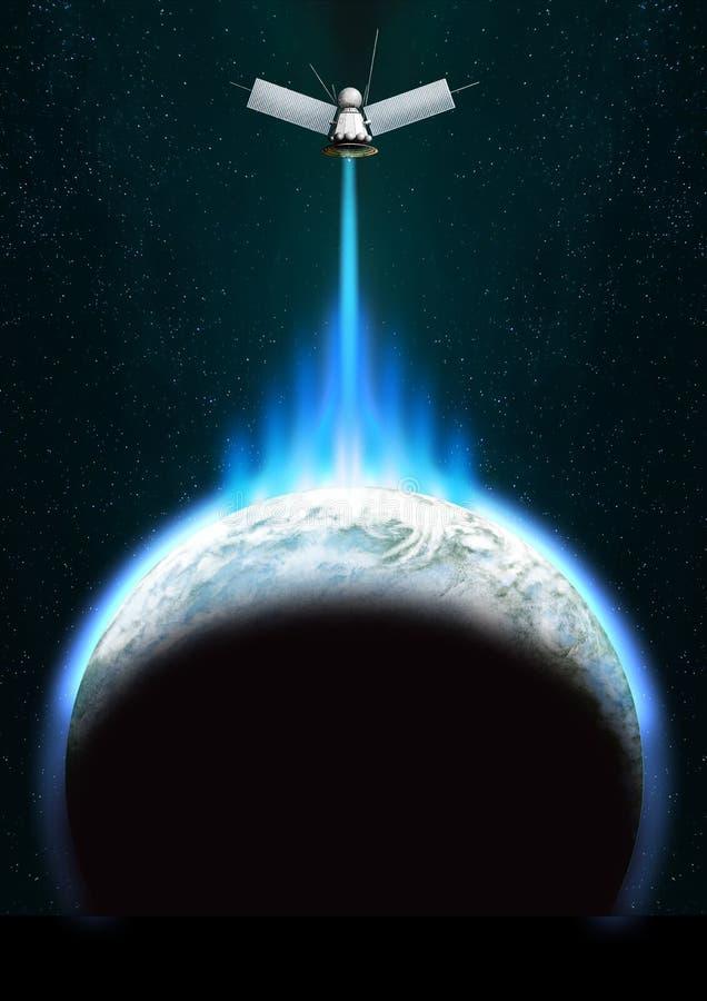 Satélite sobre a terra ilustração do vetor