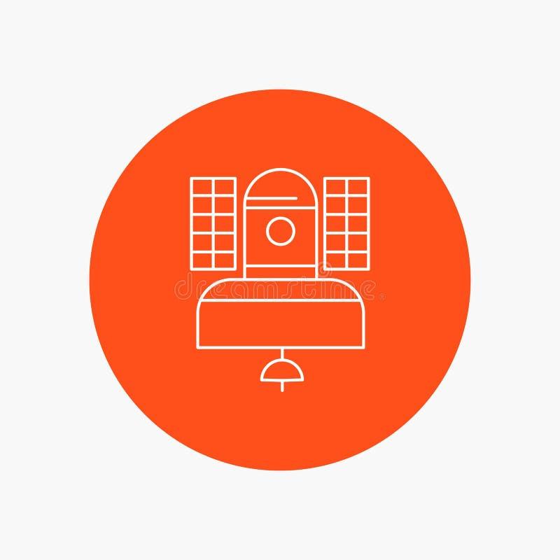 Satélite, transmissão, transmissão, uma comunicação, linha branca ícone da telecomunicação no fundo do círculo Engrena o ?cone ilustração stock