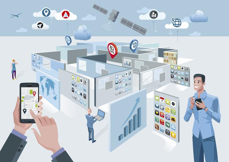 Satélite y laberinto de GPS libre illustration