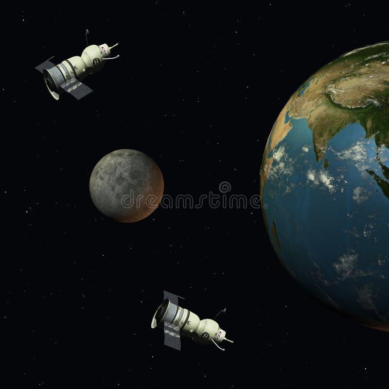 Satélites militares ilustración del vector