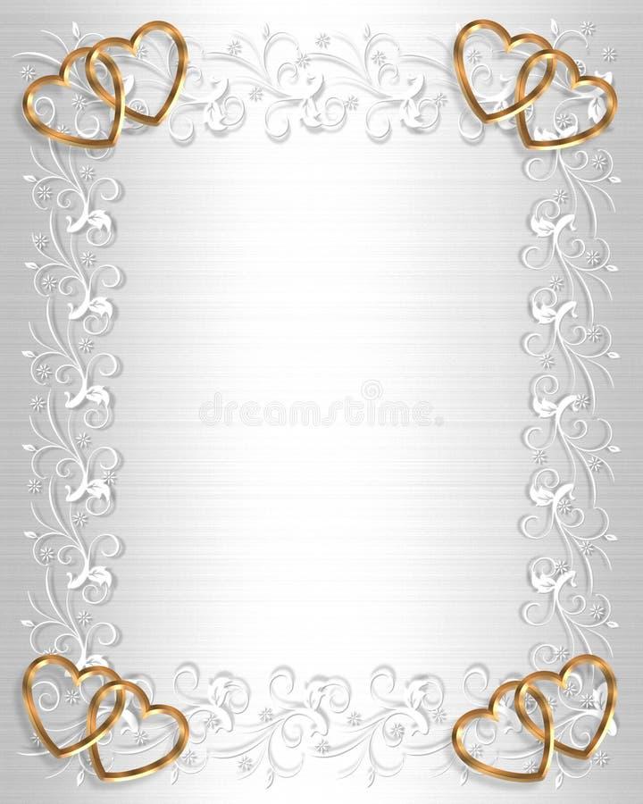 Satén del blanco de la frontera de la invitación de la boda stock de ilustración