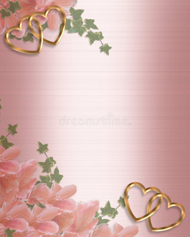 Satén del color de rosa de la frontera de la invitación de la boda ilustración del vector