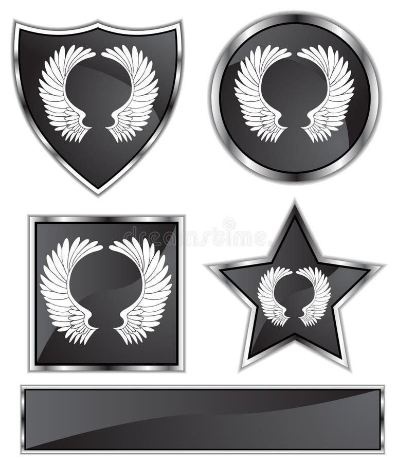 Satén negro - alas stock de ilustración