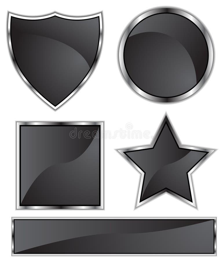 Satén negro - espacio en blanco ilustración del vector