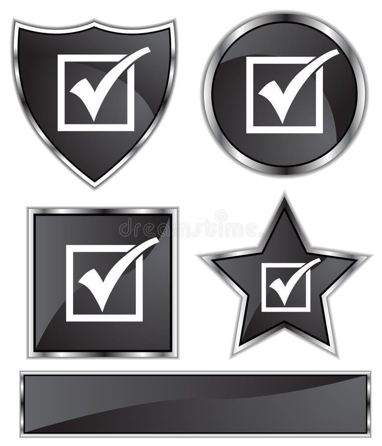 Satén negro - marca de cotejo stock de ilustración