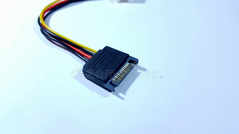 The sata cable, computer equipment for connecting between components. Usually used for hard drive and graphics card royalty free stock photography