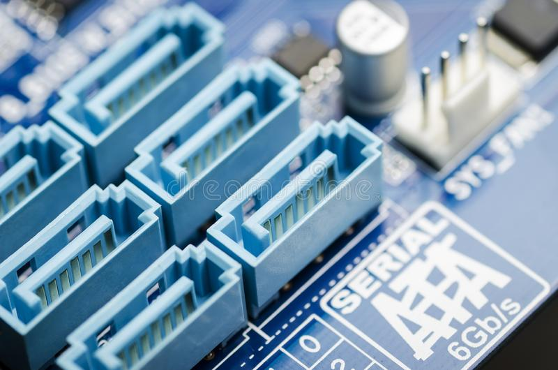 Sata connectors on the motherboard close-up stock photos
