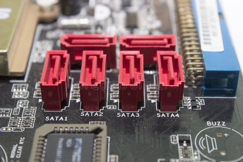 SATA ports on Motherboard stock photo