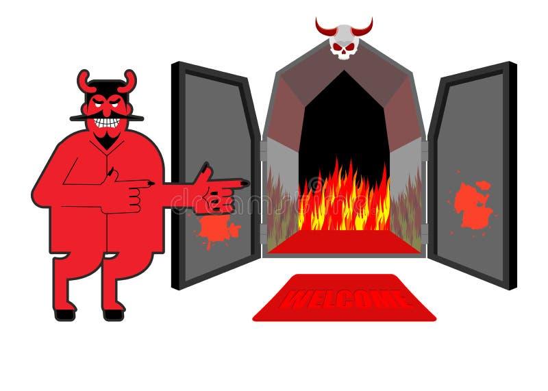 Satanás invita a pecadores al infierno El diablo indica la mano en purgatorio ilustración del vector