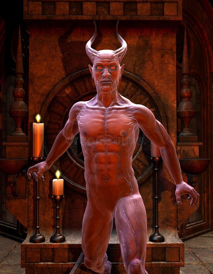 Satan delante de una capilla stock de ilustración