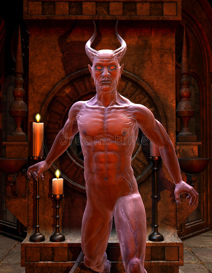 Satan In Front Of A Shrine Royalty Free Stock Image