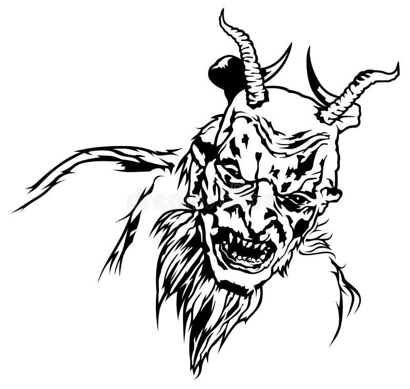 Satan-Kopf mit vier Hörnern und furchtsamem Gesicht lizenzfreie abbildung