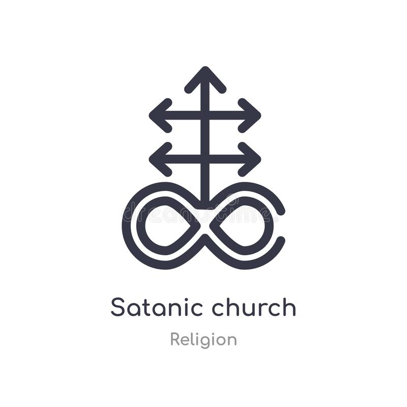 satanic church outline icon. isolated line vector illustration from religion collection. editable thin stroke satanic church icon royalty free illustration