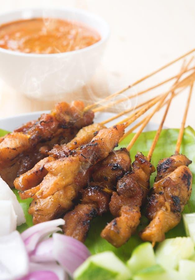 satay亚洲食家的鸡 免版税图库摄影