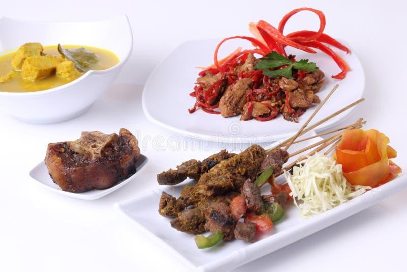 Satay牛尾鱼masala咖喱和混乱油炸物蘑菇在白色板材的印度尼西亚食物 免版税库存图片