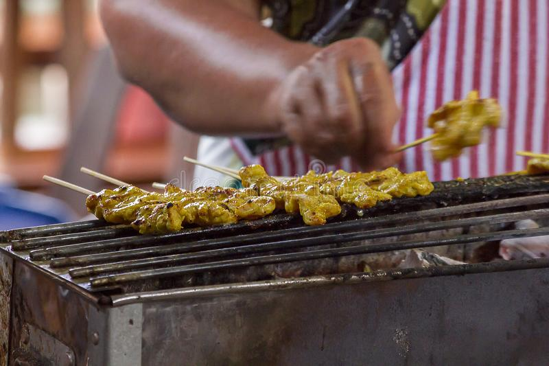 Satay猪肉在火炉烤了 免版税库存图片