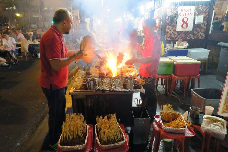 Satay στο κέντρο πωλητών στοκ εικόνα με δικαίωμα ελεύθερης χρήσης