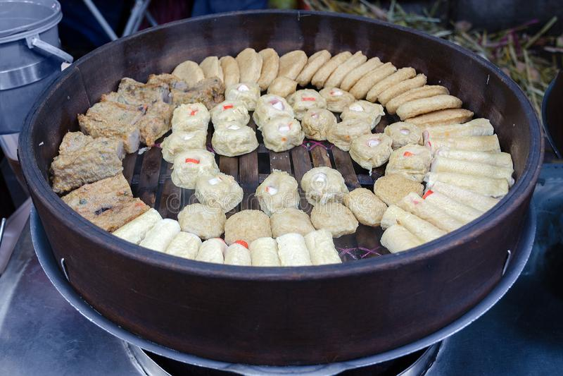 Satay celup or lok lok - traditional Malaysian meal. stock image