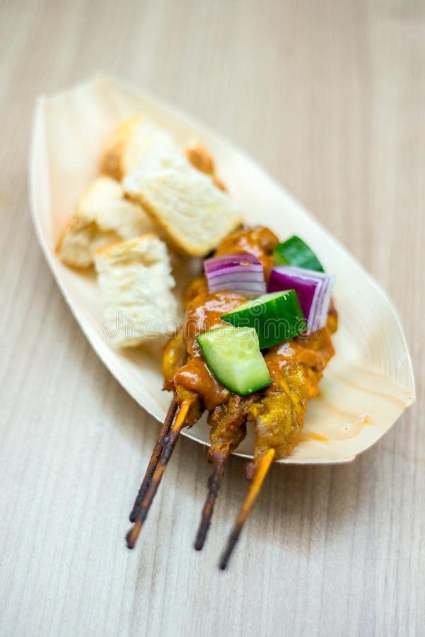 Free Satay Chicken With Toast. Royalty Free Stock Photos - 69960108