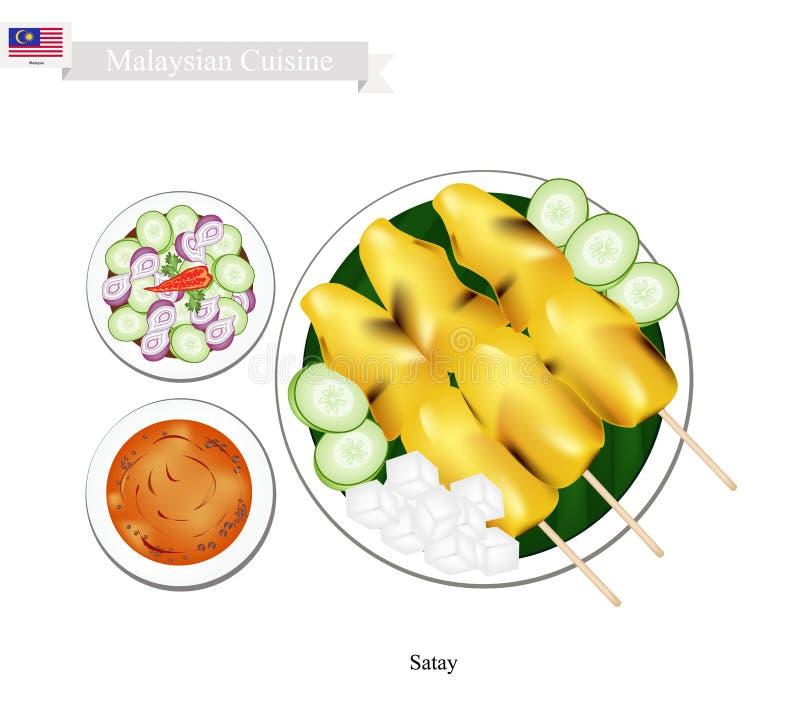 Satay ou assado malaio do estilo servido com molho do amendoim ilustração do vetor