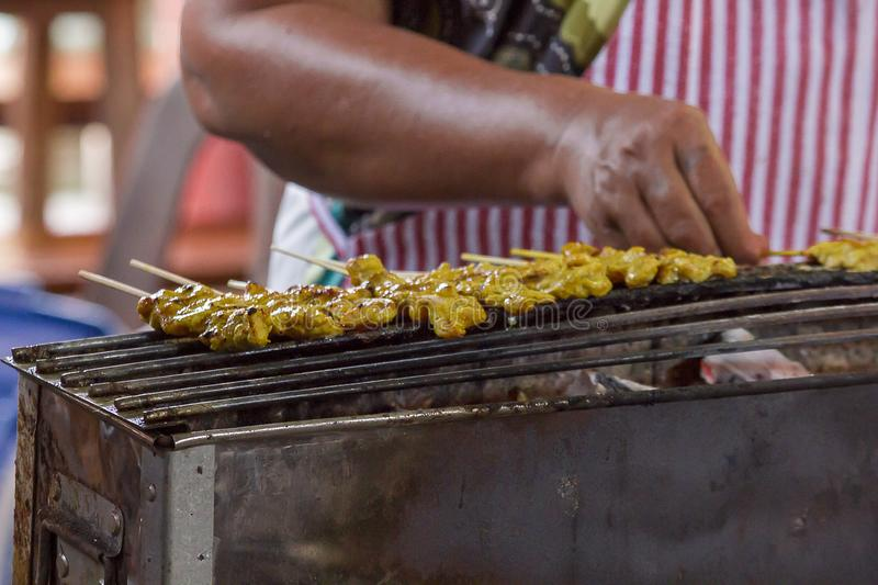 Satay Pork Grilled on the stove.  stock images