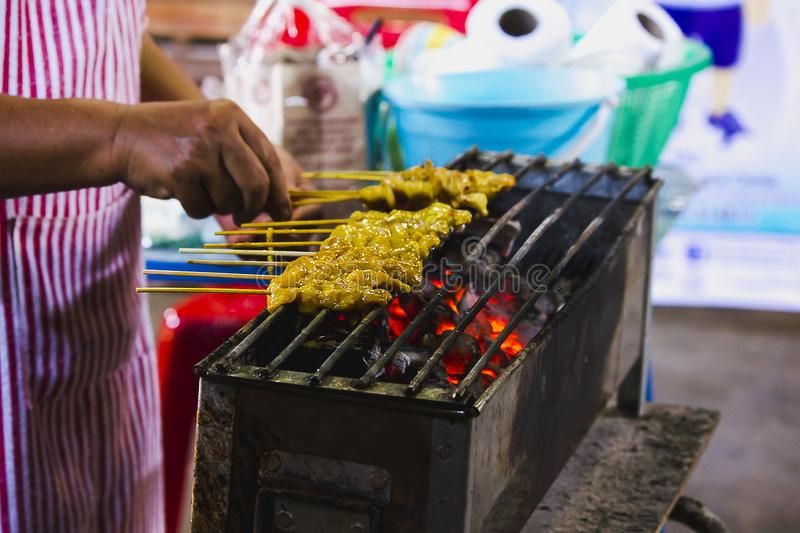 Satay Pork Grilled on the stove.  royalty free stock images